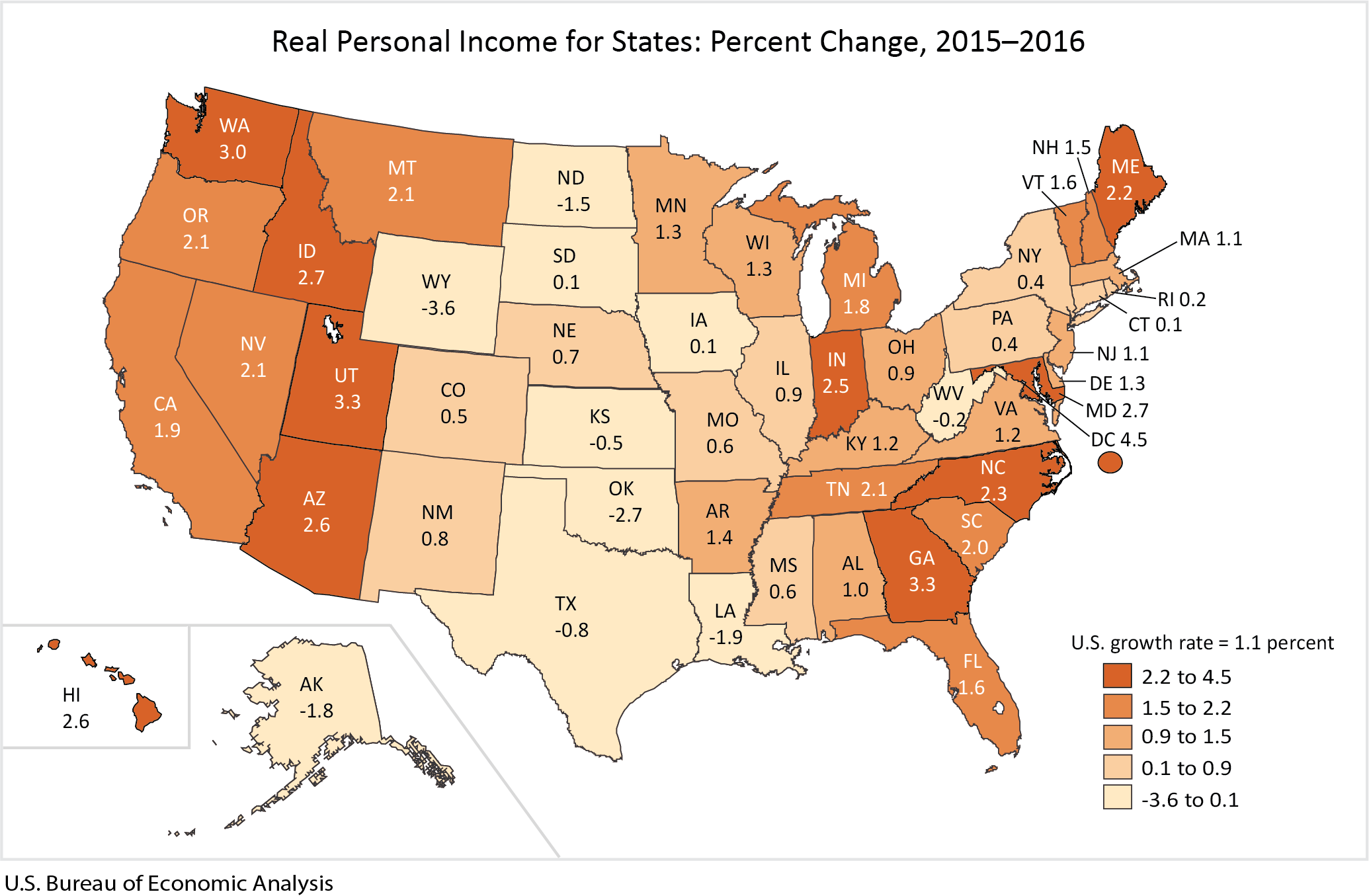 Real Personal Income for States and Metropolitan Areas, 2016 Map