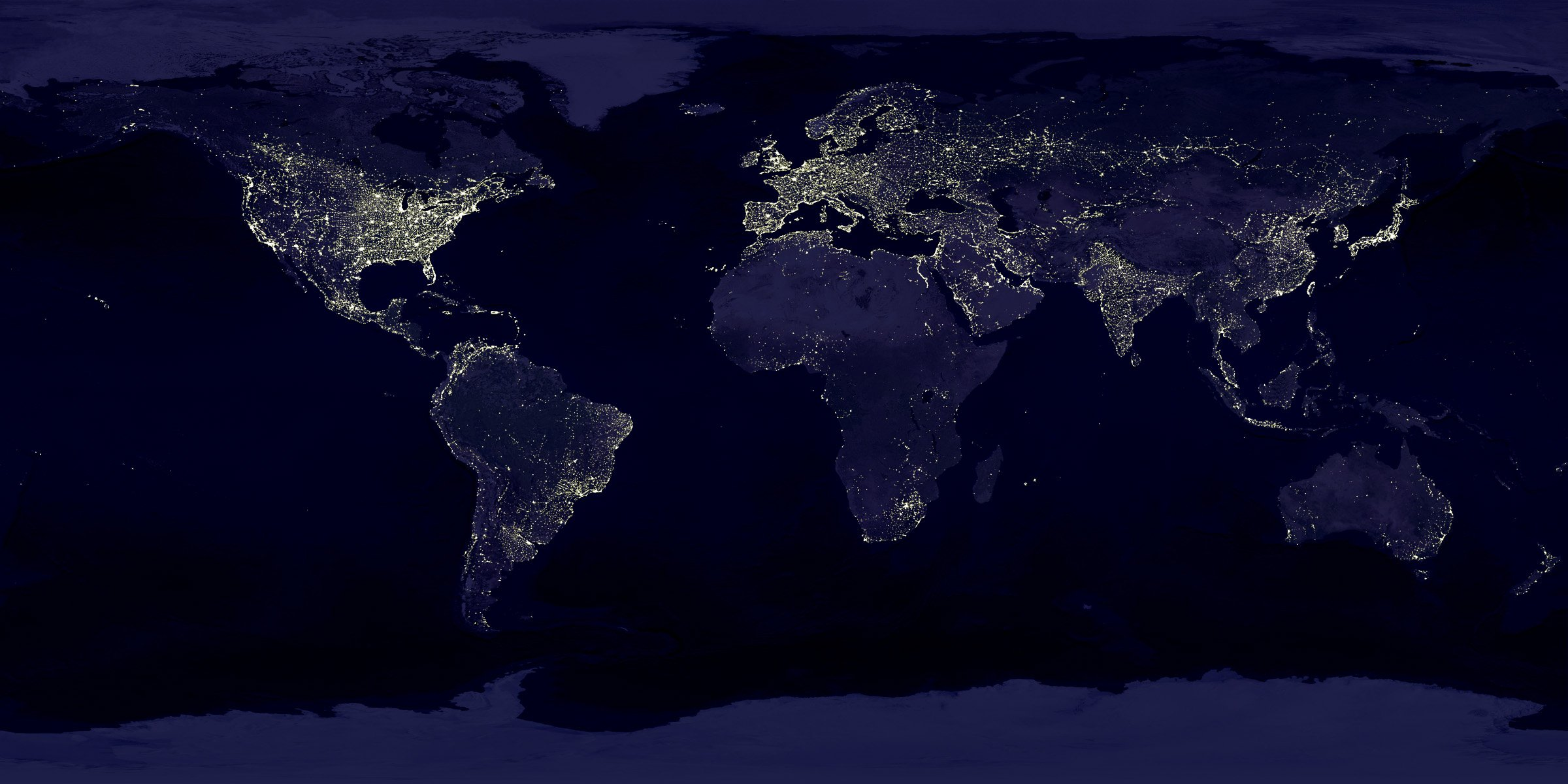 Photograph of lights on planet earth, take from space