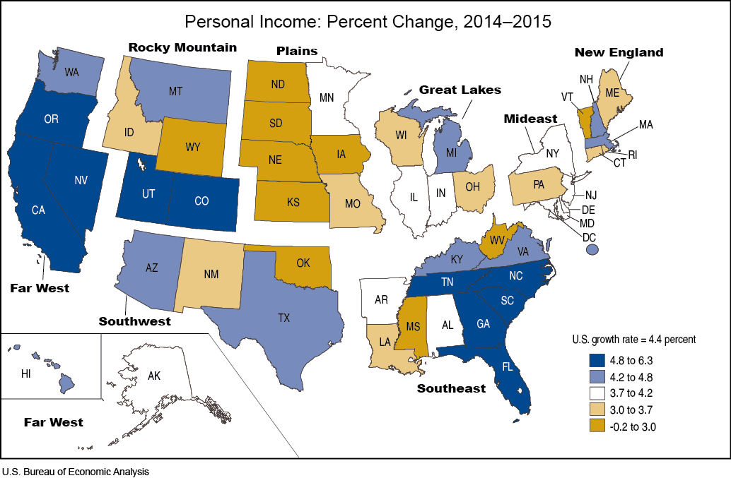 State Personal Income 2015 U S Bureau Of Economic Analysis Bea