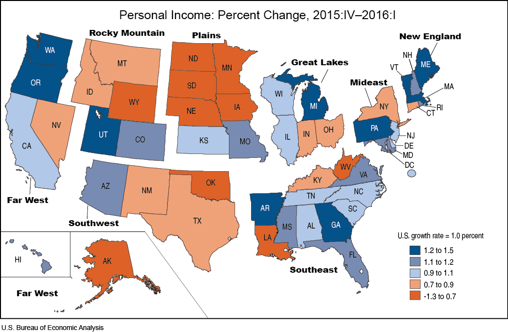 State Personal Income: First Quarter 2016 | U.S. Bureau of Economic on map of texas geographical areas, map of texas water sources, map of texas by zip code, map of texas with names, map of texas driving distances, map of texas census,
