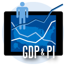 GDP and Personal Income Mapping icon.