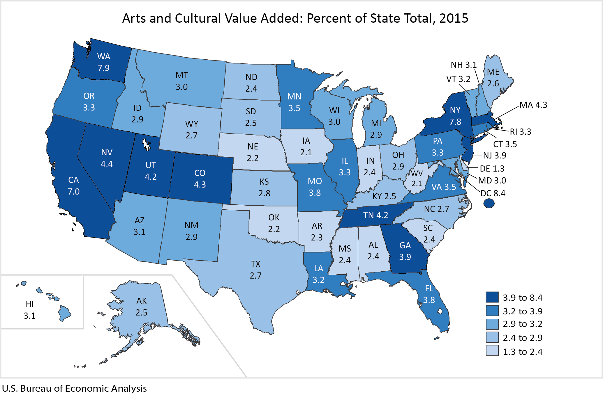Arts and Cultural Value Added Map: Percent of State Total 2015