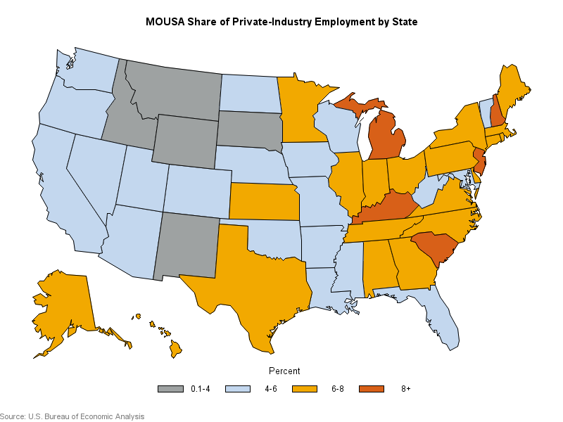 Map: MOUSA Share of Private Industry Employment by State, 2019