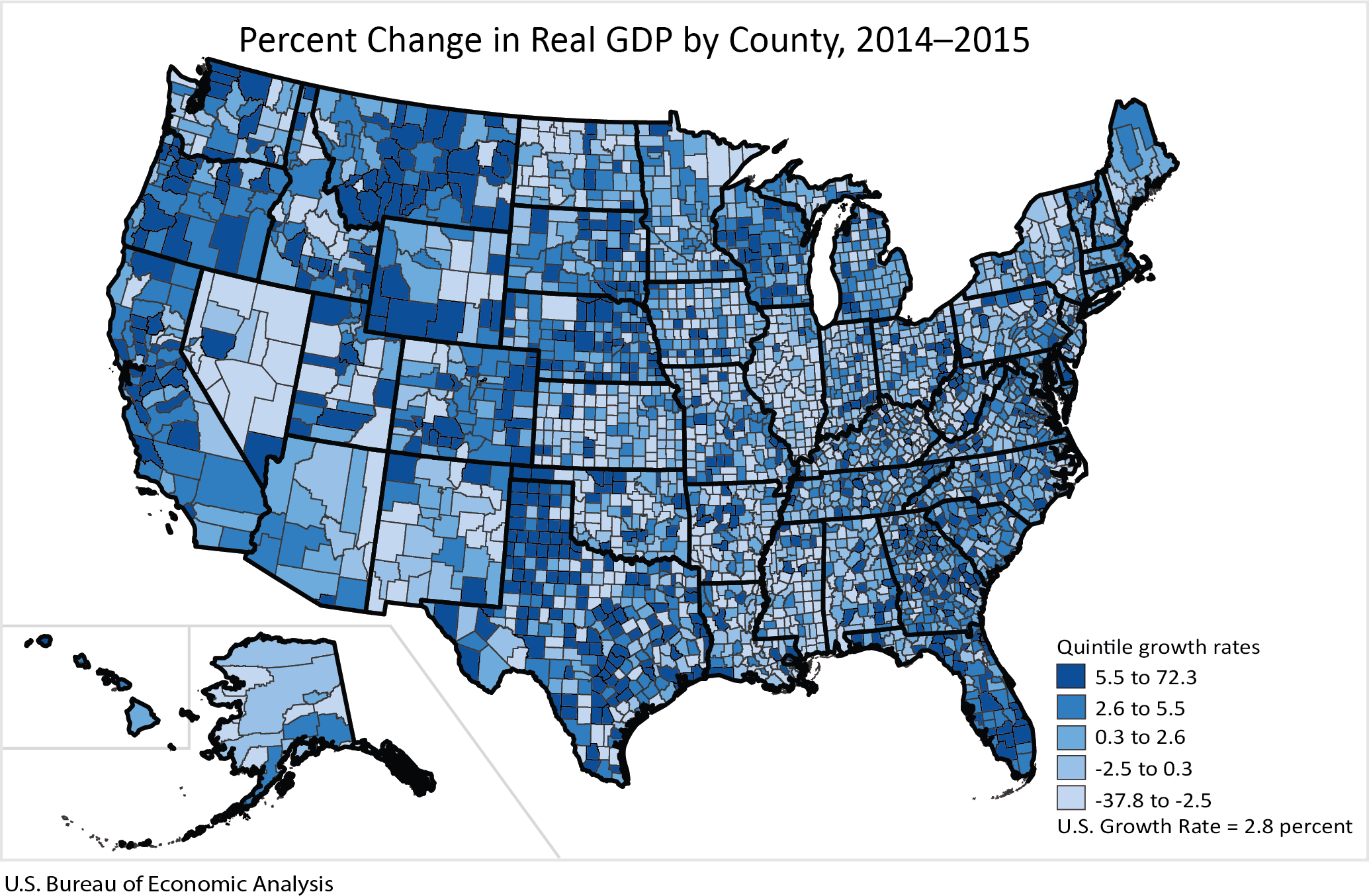 Percent Change in Real GDP by County, 2014-2015