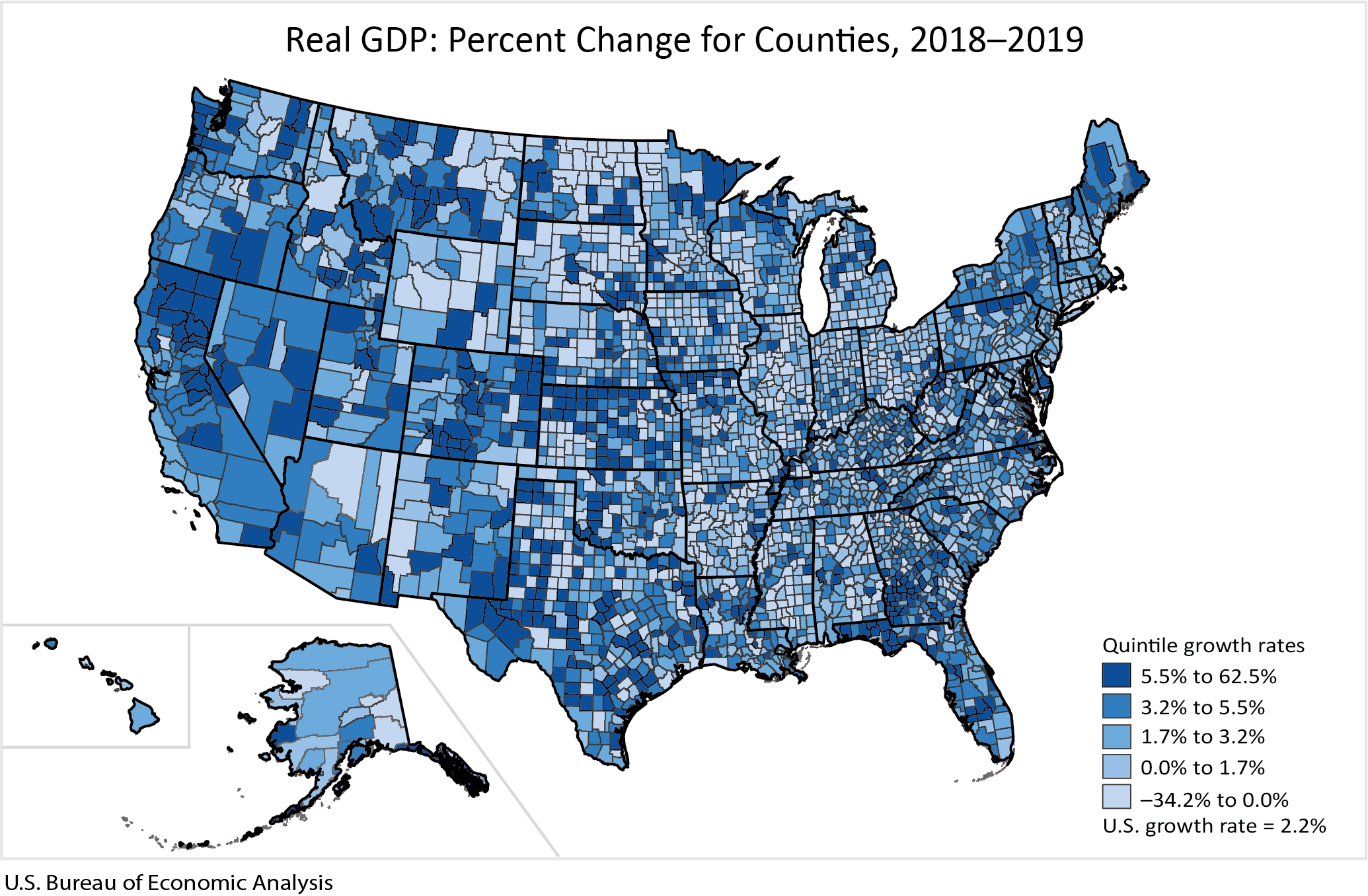 Real GDP: Percent Change for Counties, 2018-2019