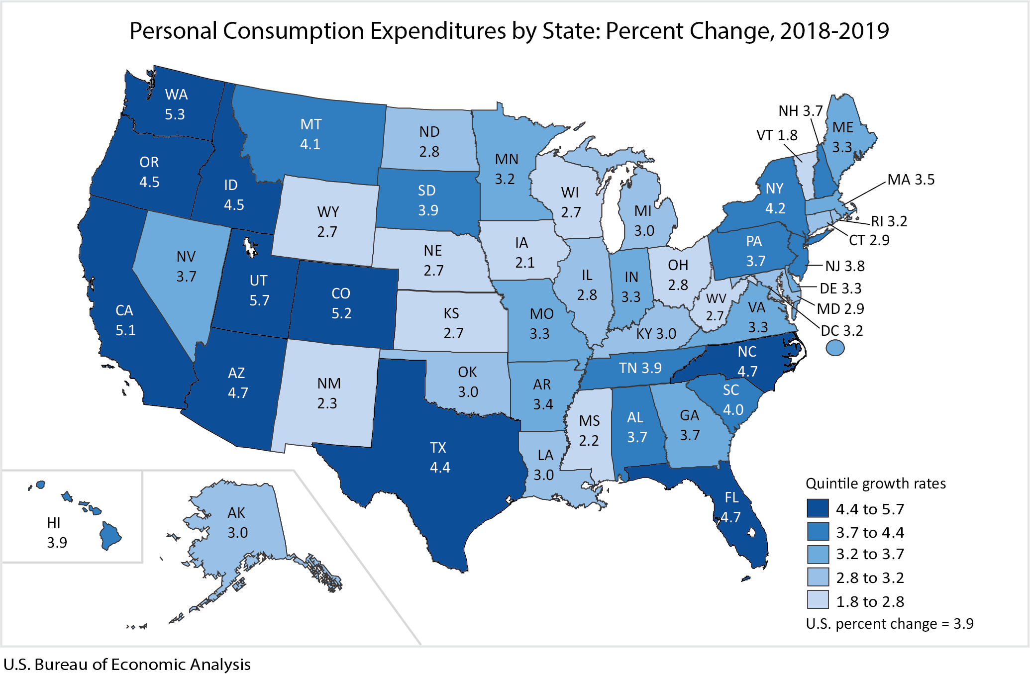 Map: Personal Consumption Expenditures by State: Percent Change, 2018-2019