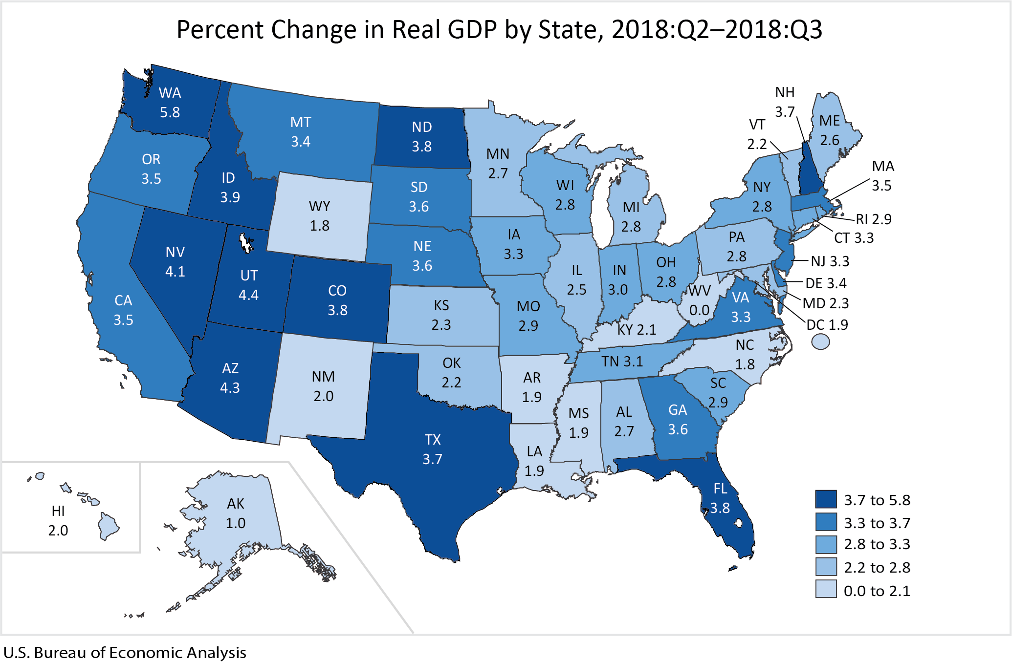 Percent Change in Real GDP by State, 2018:Q2-2018:Q3