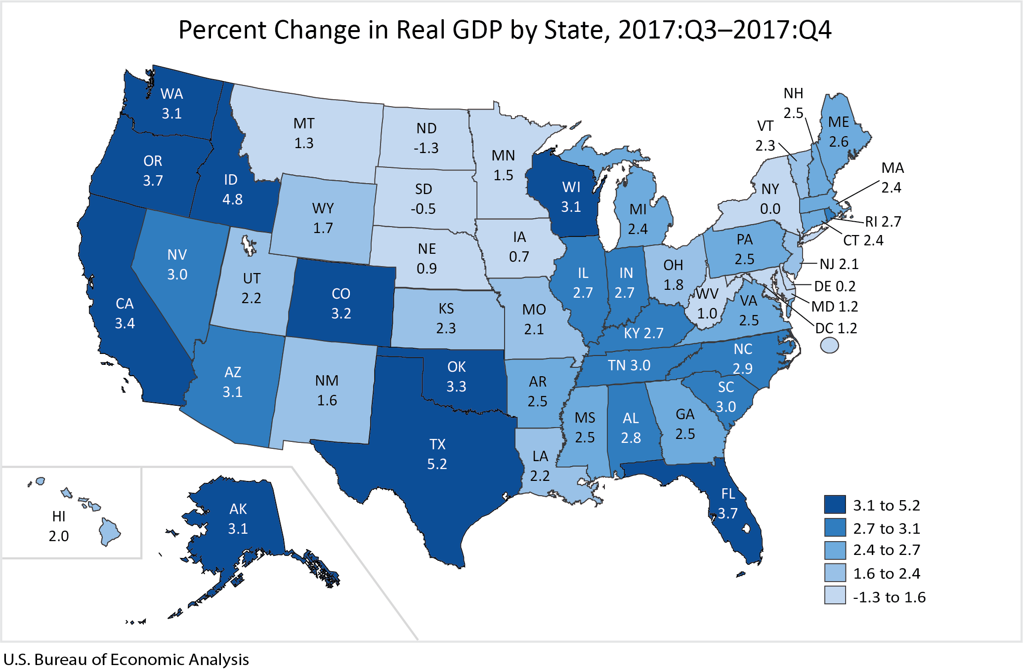 Map showing Percent Change in Real GDP by State.