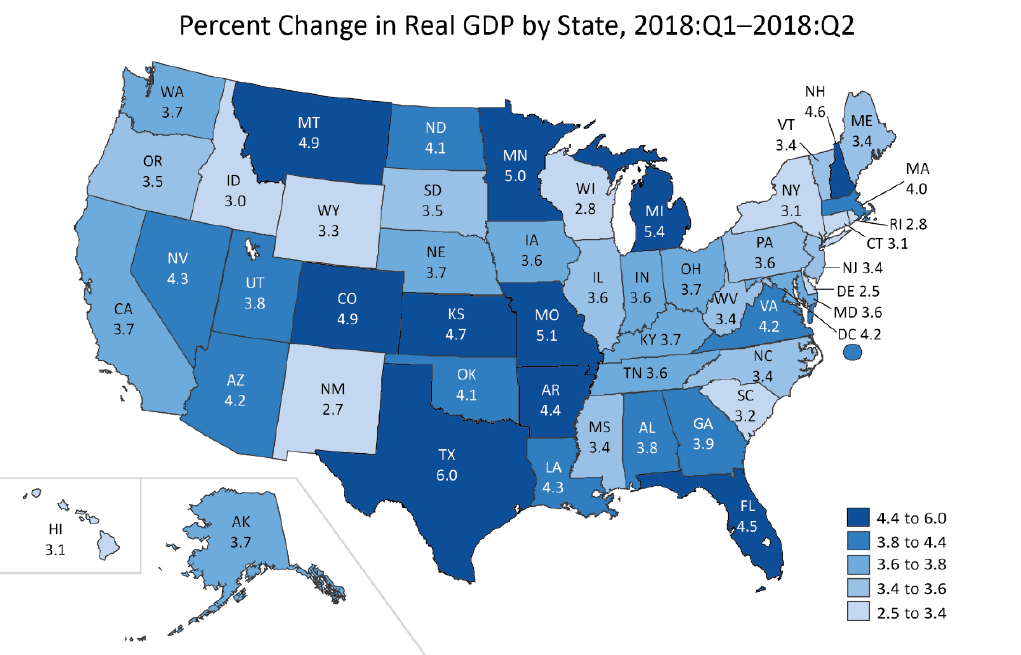 Gross Domestic Product by State: Second Quarter 2018