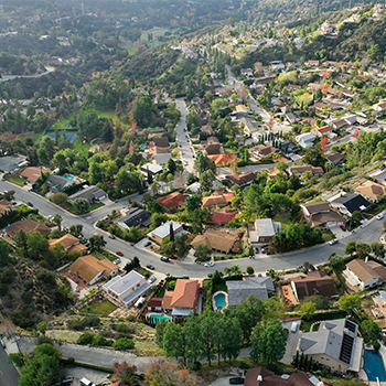 Arial photo of suburban housing.